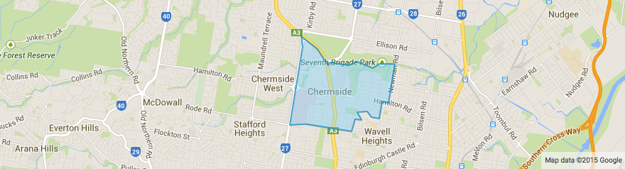 Map of Chermside, Brisbane, Queensland, 4032, lawn mowing in Chermside, lawn care in Chermside