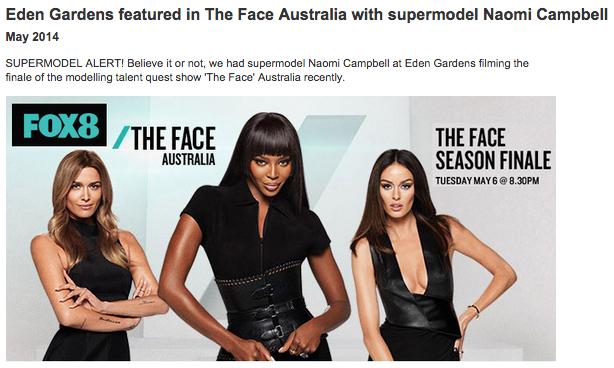 Supermodel Naomi Campbell at Eden Gardens,