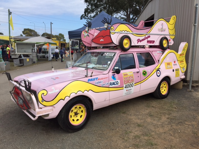 The colourful Variety Queensland car proudly on display at the Farm Fantastic Expo, Caboolture © GreenSocks