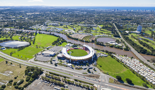 Lawns and green ovals on the Gold Coast - Aerial view of Metricon Stadium
