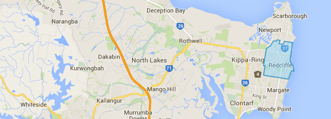 redcliffe map, map of redcliffe, moreton bay, brisbane, greensocks, lawnmowing in redcliffe, redcliffe lawn mowing