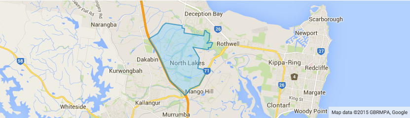 North Lakes, Brisbane, north Brisbane, map of North Lakes, lawnmowing North Lakes, lawnmowing Brisbane, GreenSocks