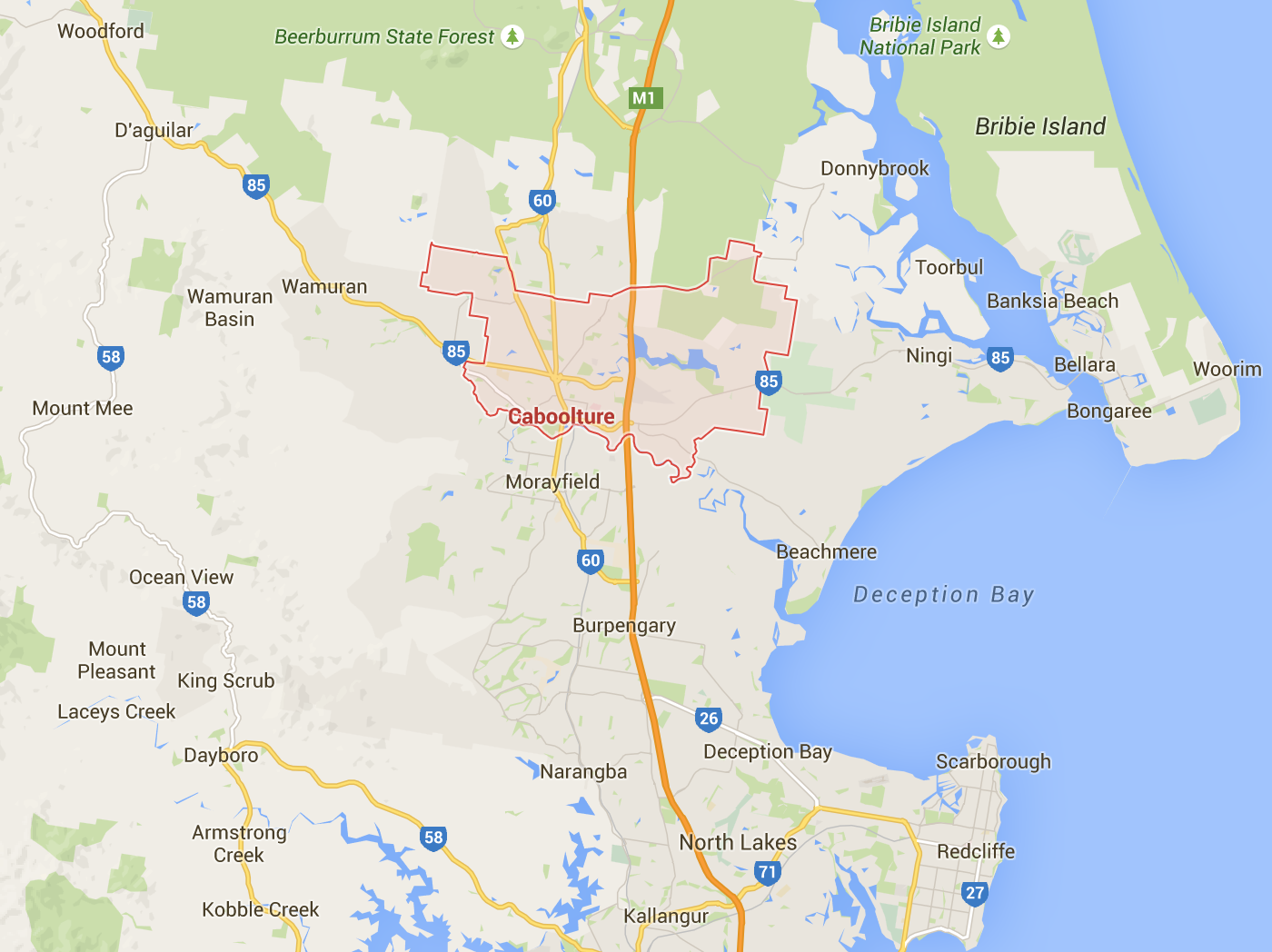 Google map for lawn mowing in Caboolture and surrounds