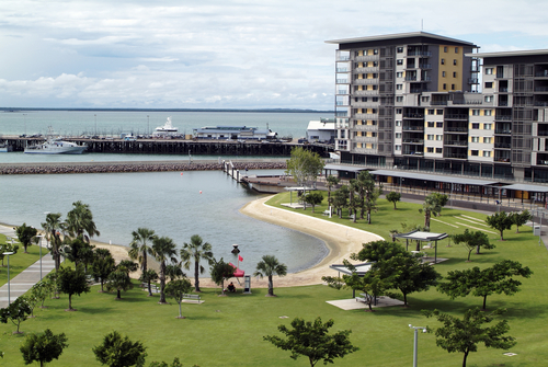 Lawns at the Darwin Waterfront Development and Wharf, Darwin lawn mowing
