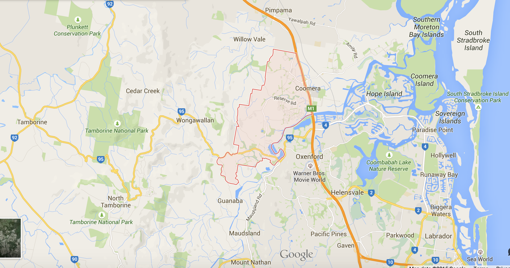 Google Map for lawn mowing in Upper Coomera
