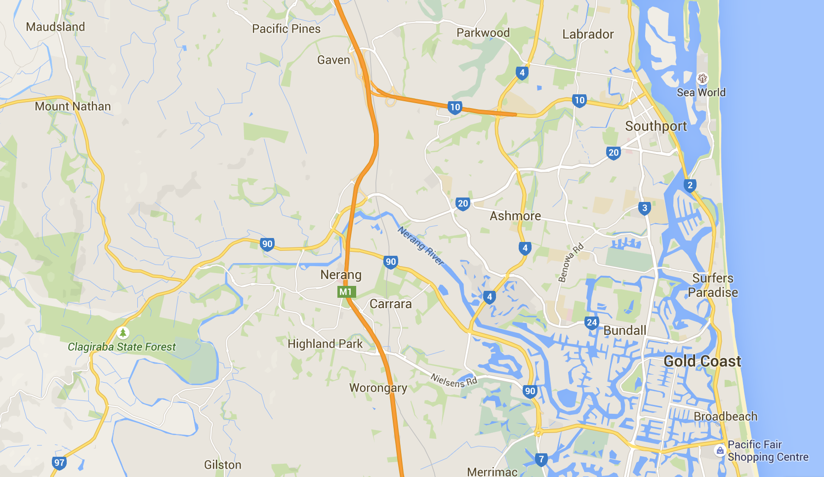Where do you need your lawn mowed in Nerang? Image credit: Google Maps 2015