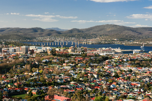 View over Hobart towards the Derwent River in Hobart, Tasmania, Australia, Hobart lawn mowing
