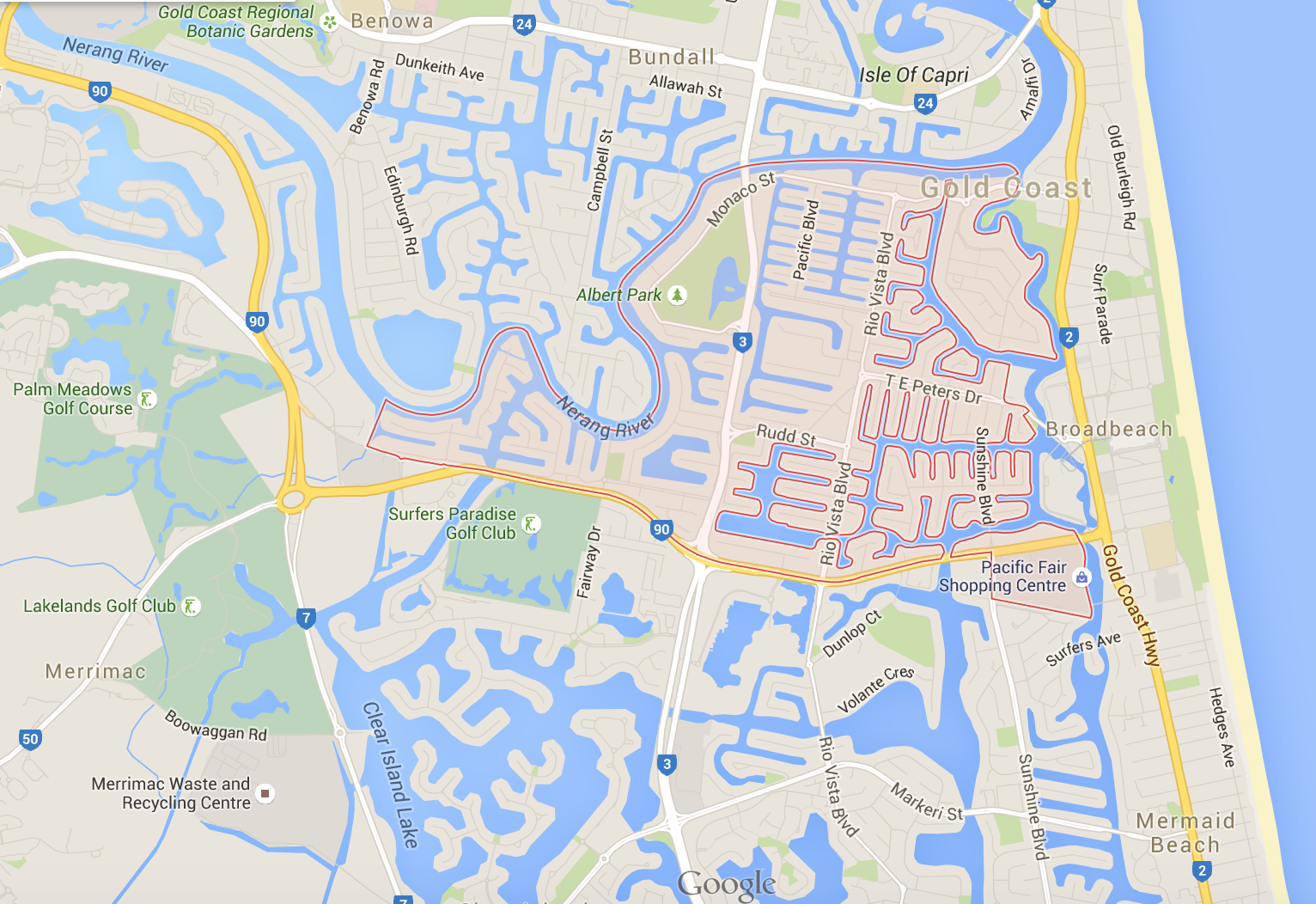 Need lawnmowing in Broadbeach Waters? (Image credit: Google Maps)
