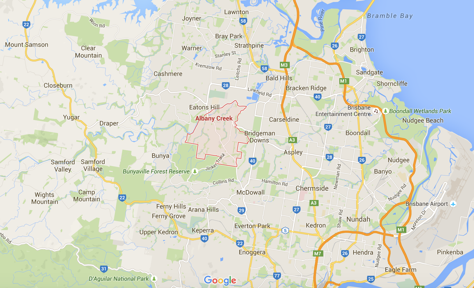 Google map for your lawn mowing services in Albany Creek and beyond