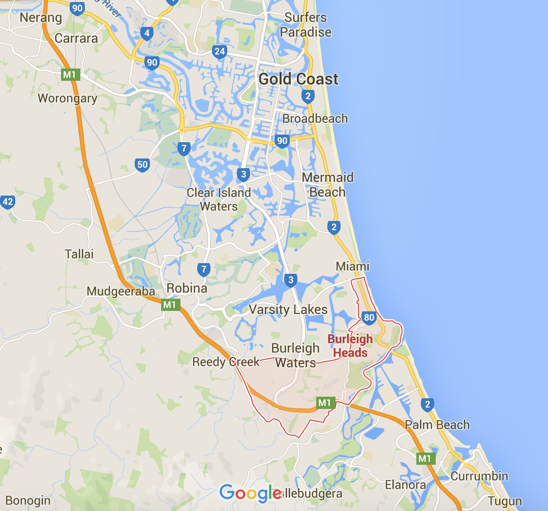 Burleigh Heads mowing services - Google Map