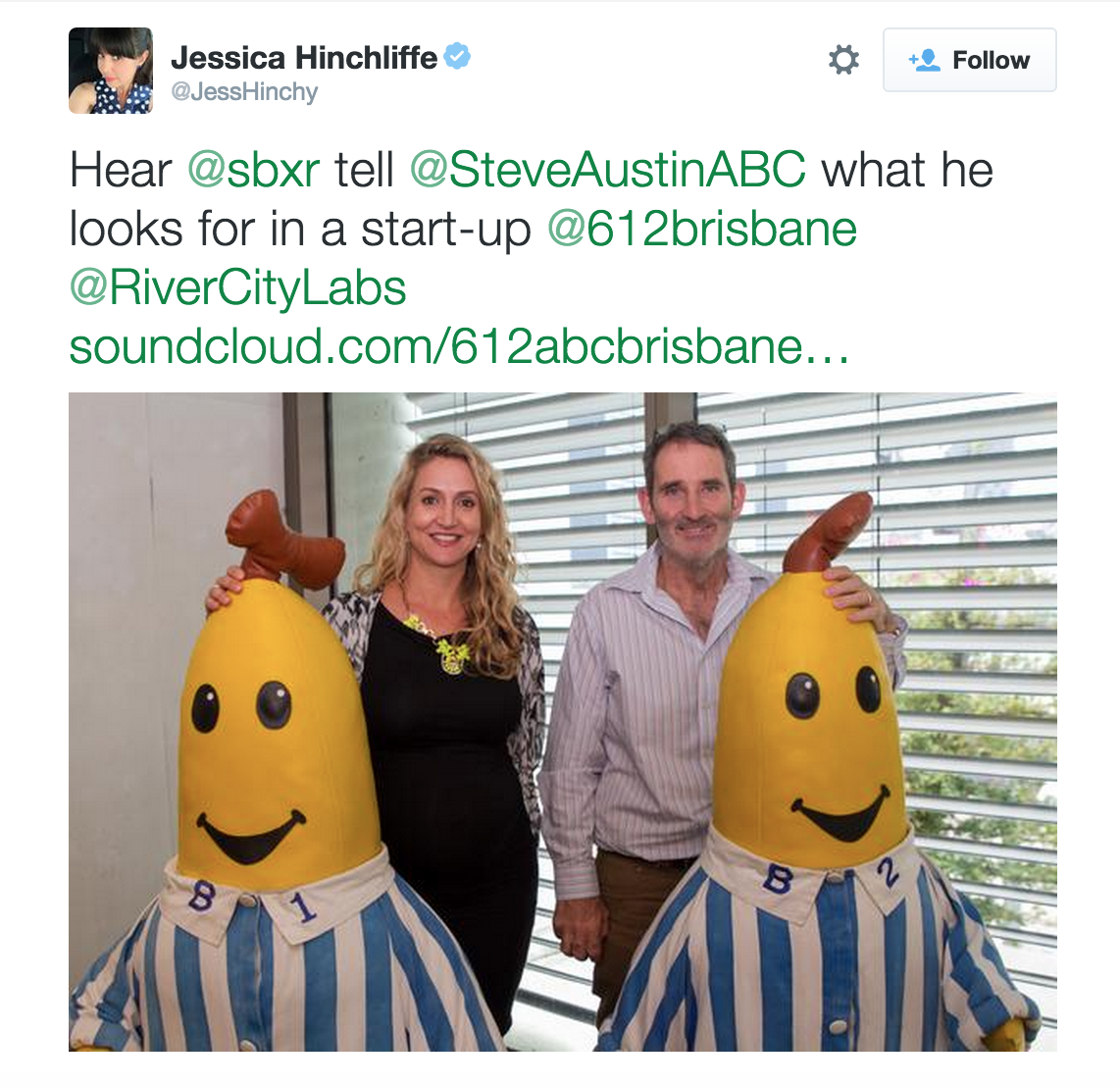 Peta Ellis and Steve Baxter with B1 and B2 at ABC Radio Brisbane (Image credit: @JessHinchy)