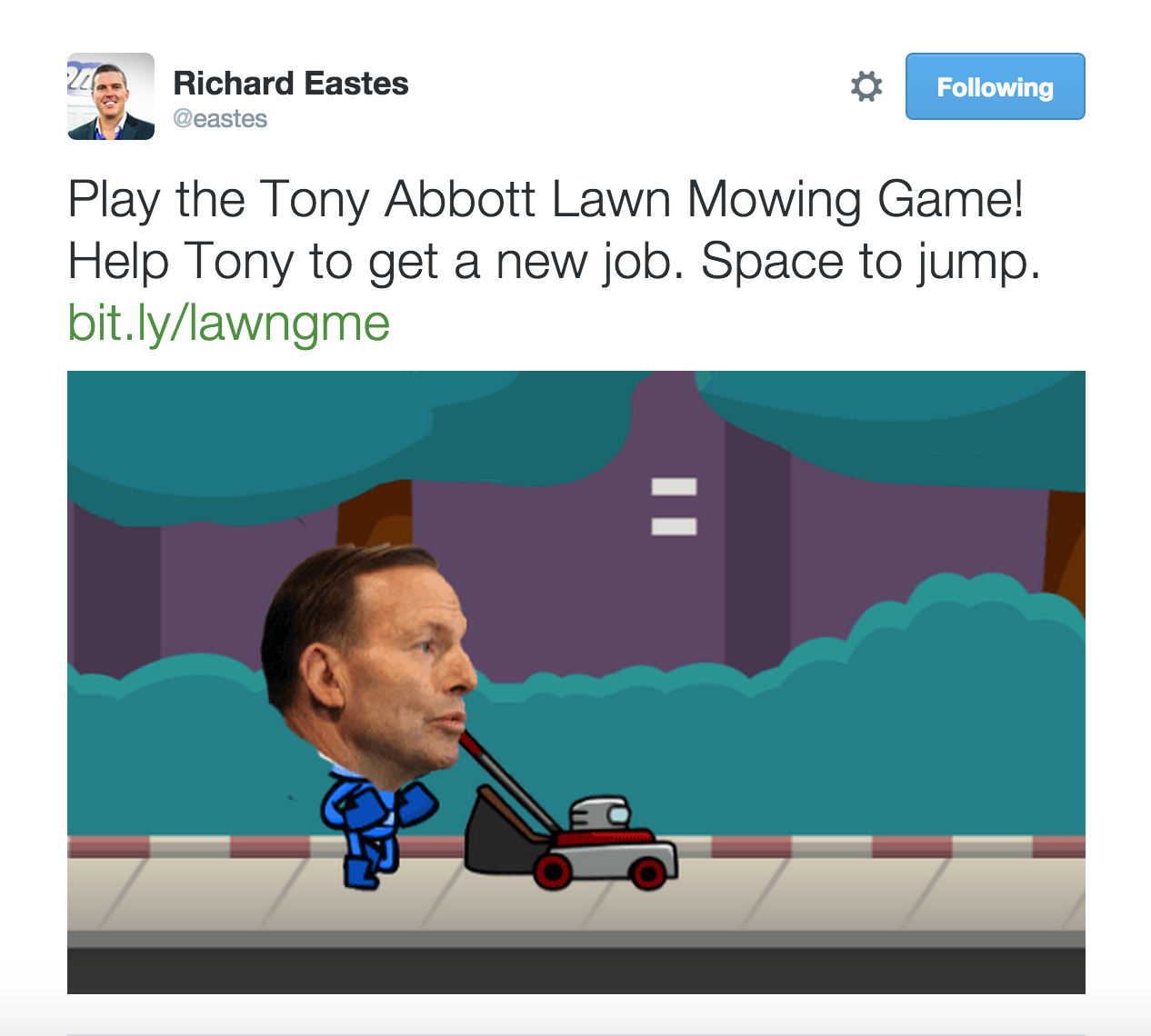 Tony Abbott lawn mowing game by GreenSocks' Richard Eastes