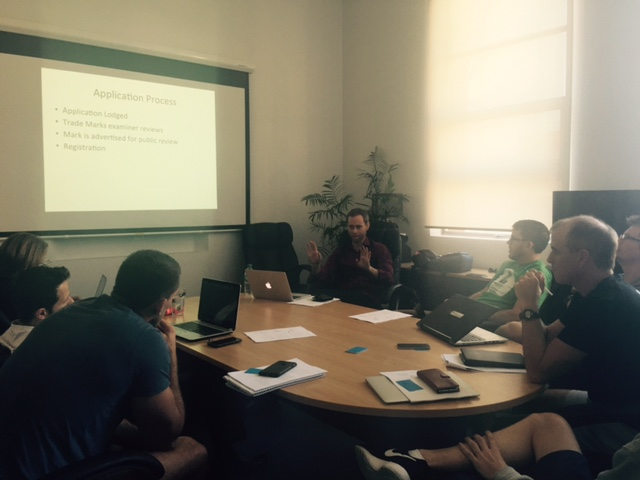 Andrew Cameron teaching IP at River City Labs Startup Accelerator