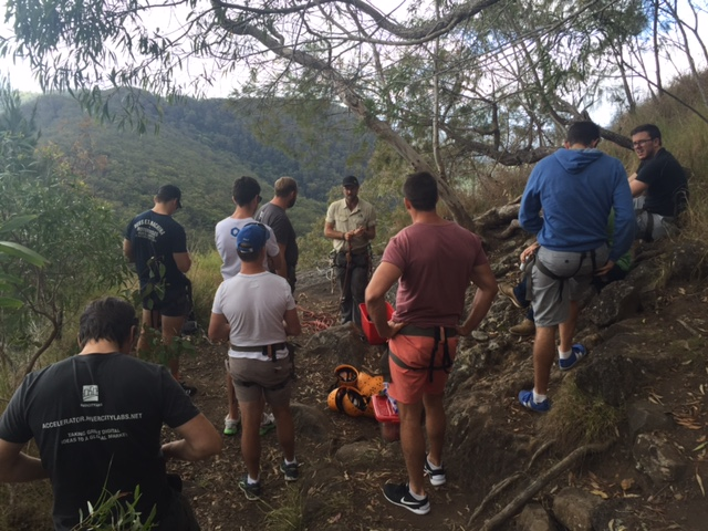 Abseiling with River City Labs Startup Accelerator at Binna Burra, Gold Coast, Queensland © GreenSocks