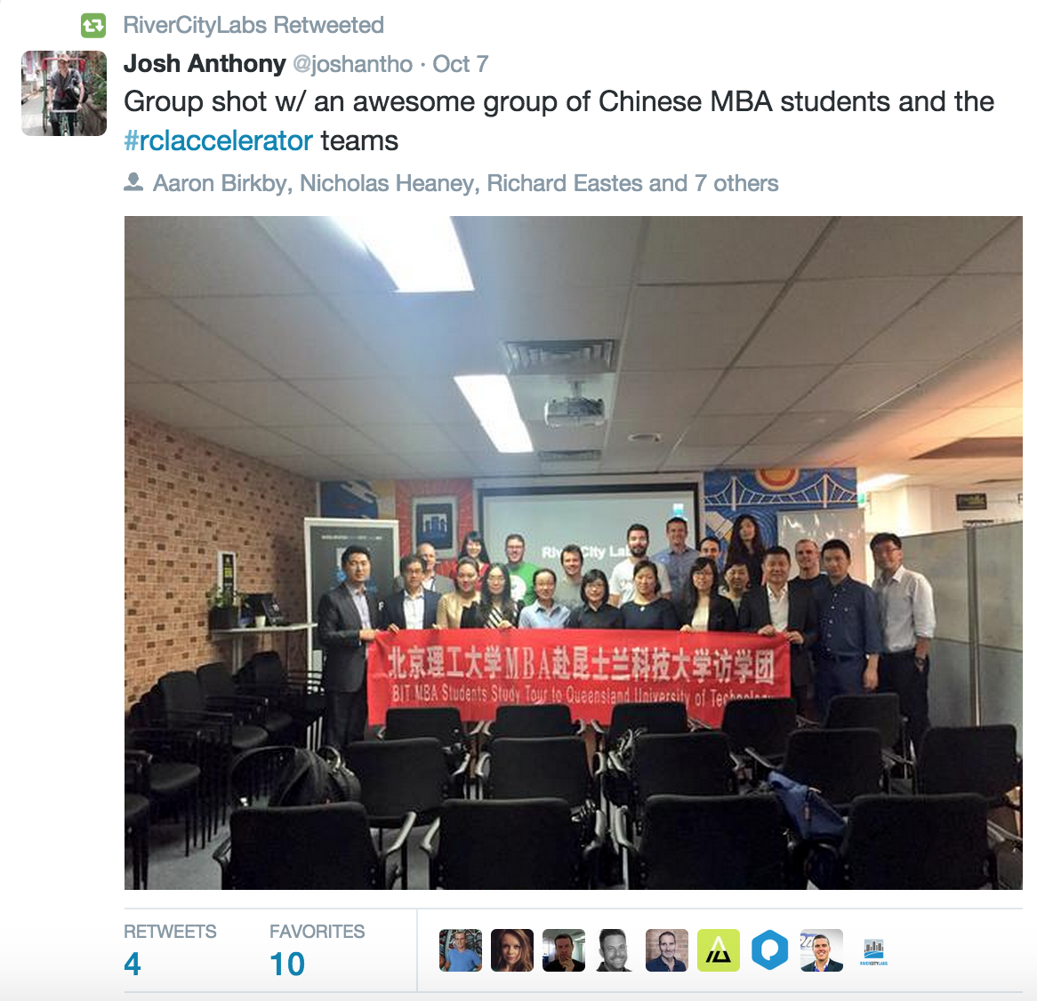 Student group from China visiting River City Labs