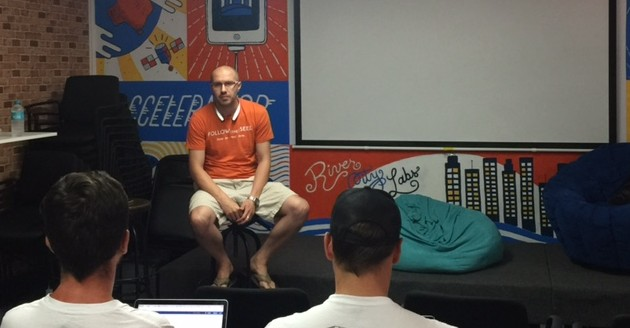Andrey Shirben from SYD Ventures, at River City Labs startup accelerator © GreenSocks