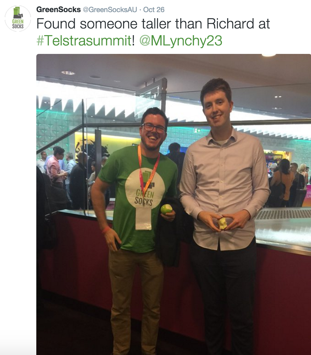 Richard and his new (even taller) friend at Telstra Digital Summit Sydney 2015