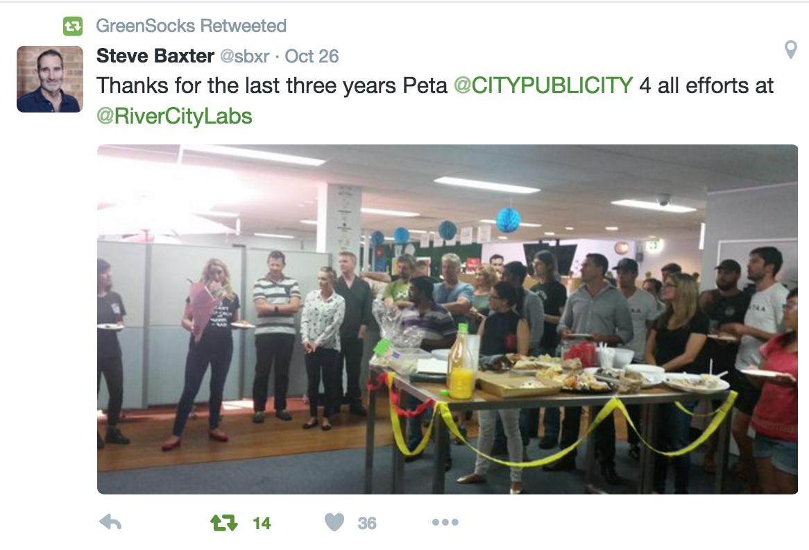 Peta Ellis left River City Labs