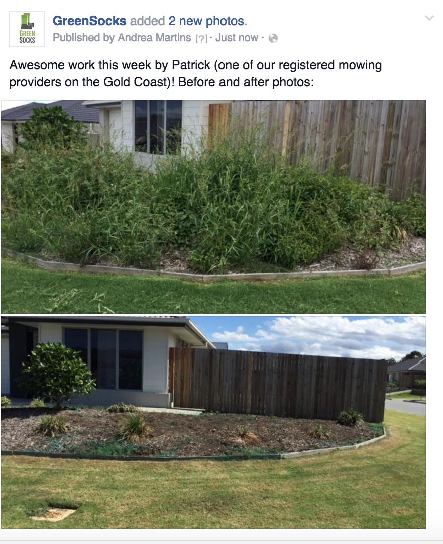 GreenSocks lawn mowing Gold Coast