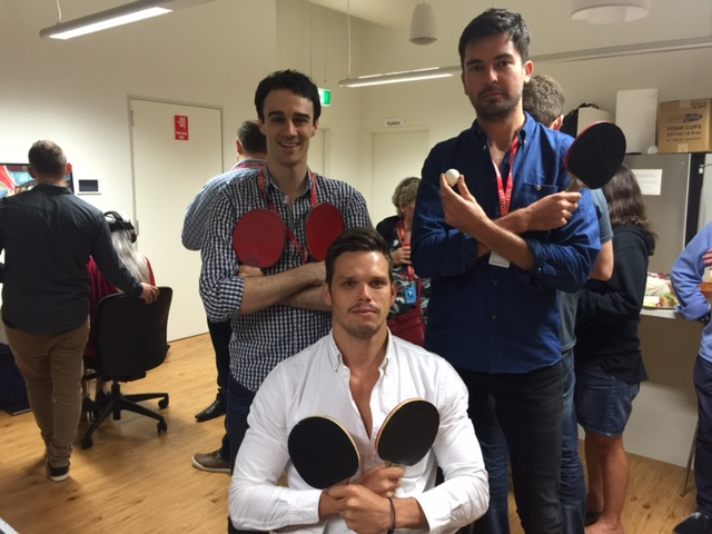 Serious ping-pong pose from Josh Anthony, Nicholas Heaney and Damon Oudejans © GreenSocks
