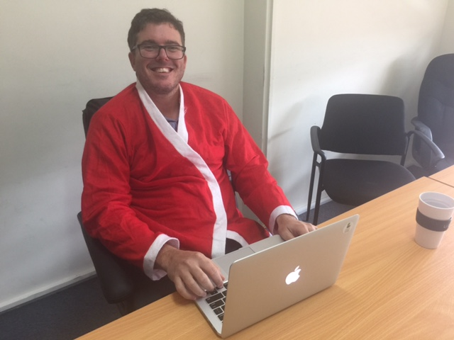 Richard Eastes from GreenSocks wears Santa, not Prada © GreenSocks