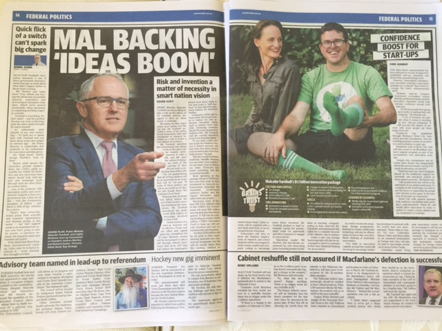 GreenSocks and Malcolm Turnbull PM in The Courier Mail, Brisbane