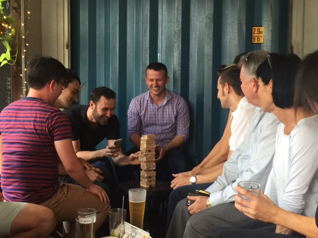 Rowan Grant trying his hand at Jenga © GreenSocks