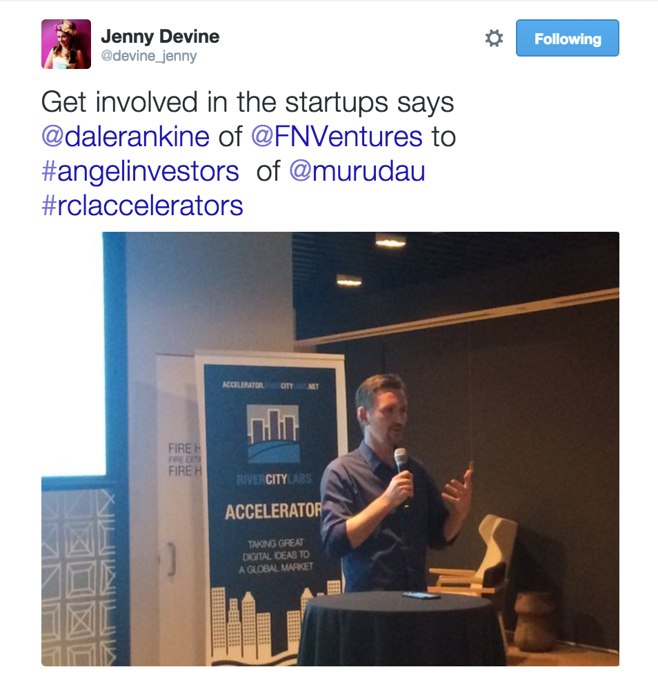 Dale Rankine of FutureNow Ventures at BOQ muru-D dinner