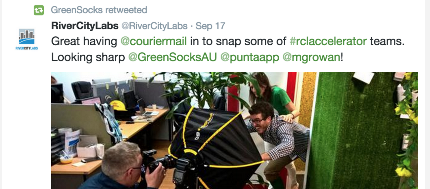Our lawn mowing startup GreenSocks' first photoshoot for The Courier Mail