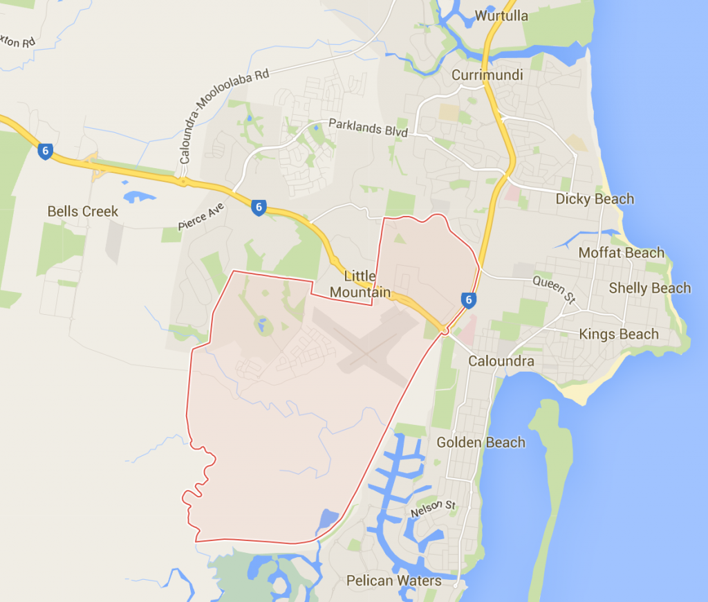 Caloundra West lawn services on a Google Map