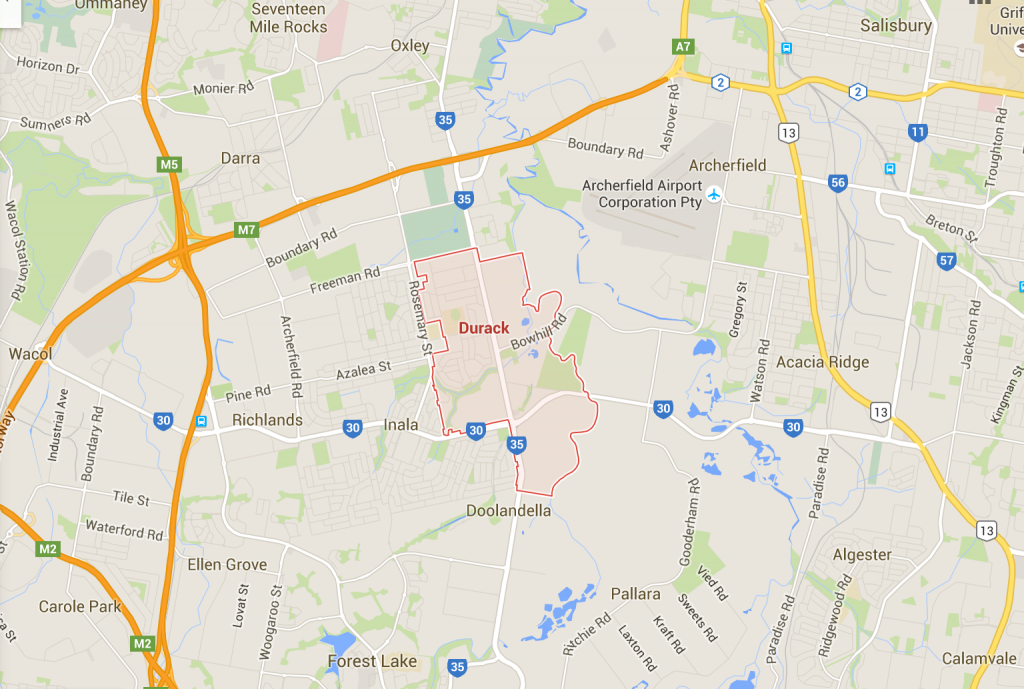 Durack yard clean ups and lawn mows on a Google Map