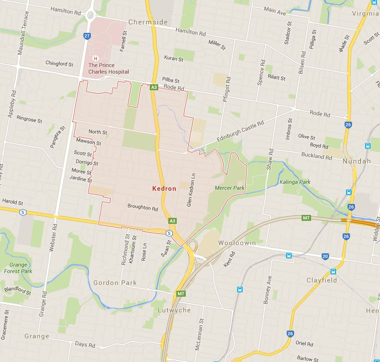 Tell us where you are on the Google Map and get your lawn mowed in Kedron!