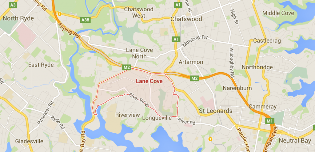 Lane Cove lawn mowing on a Google Map