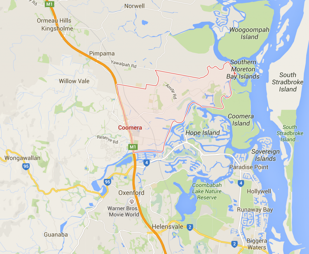 Lawn Mowing Coomera on a Google Map