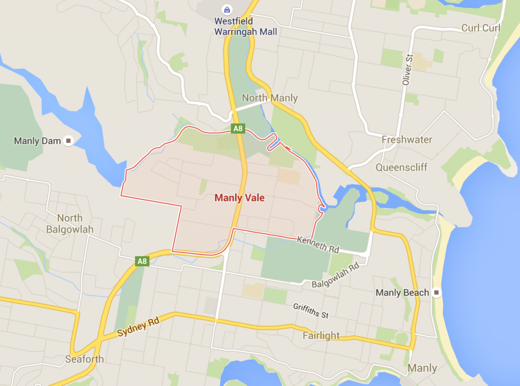 Lawn mowing Manly Vale - on a Google Map