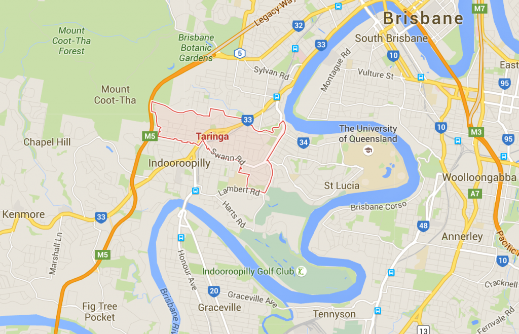 Lawn mowing services Taringa on a Google Map