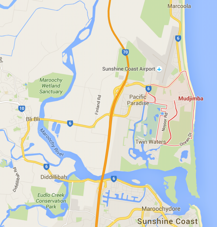 Mudjimba lawnmowing on a Google Map