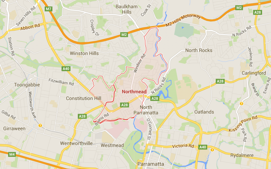 Northmead lawn mowing on a Google Map