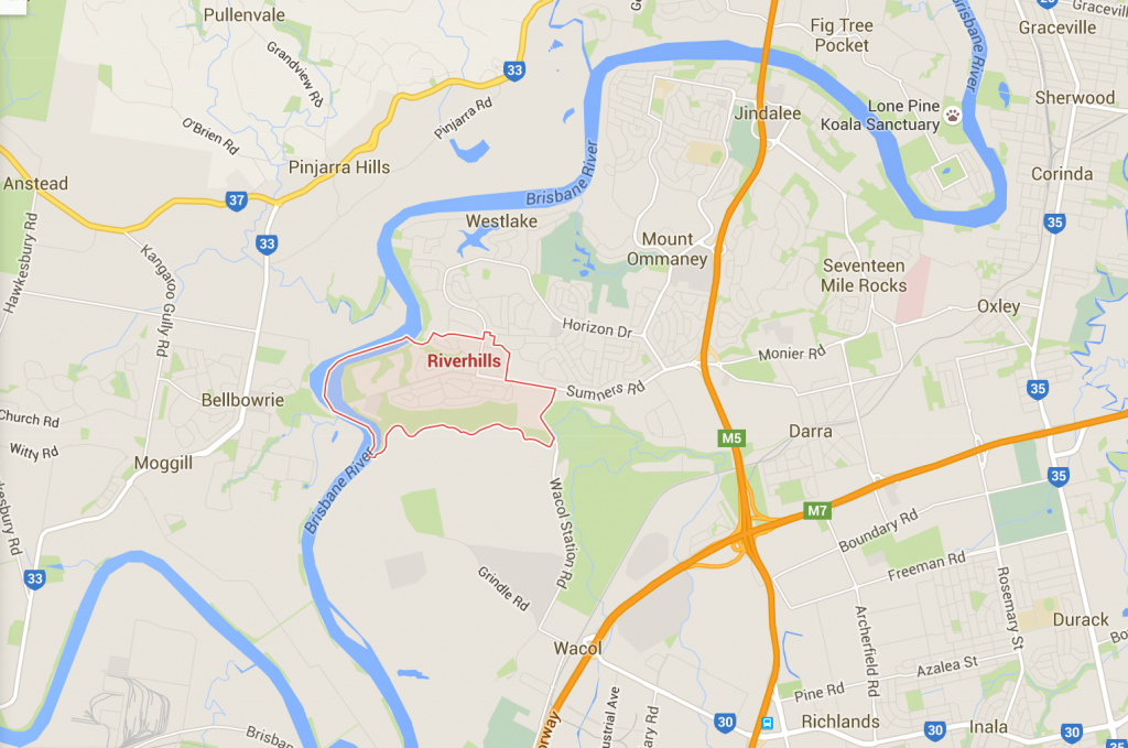 Mowing and weeding in Riverhills - on a Google Map