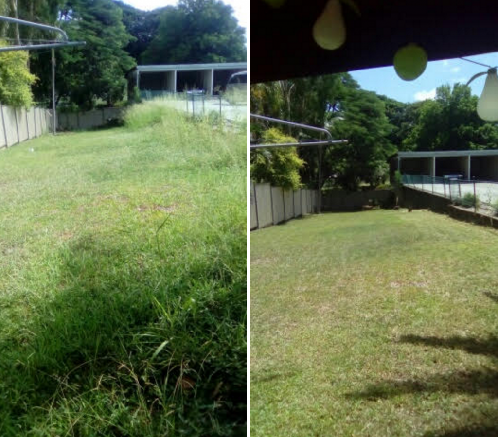 """Before"" and ""after"" photo of Fairfield Lawn Mowing Services © GreenSocks"