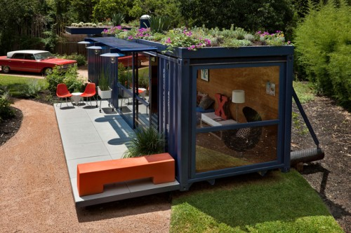 Shipping Container Art Studio with Garden on Roof