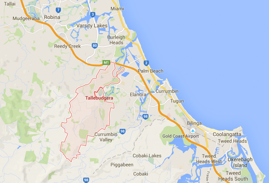 Tallebudgera lawn care on a Google Map