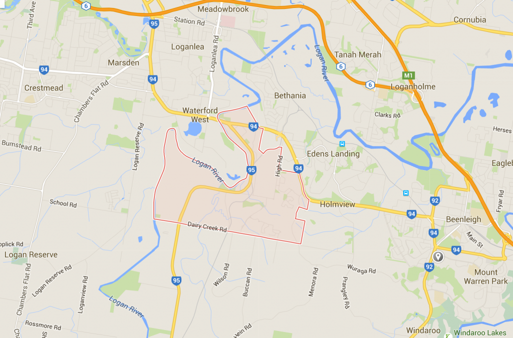 Waterford lawn care on a Google Map