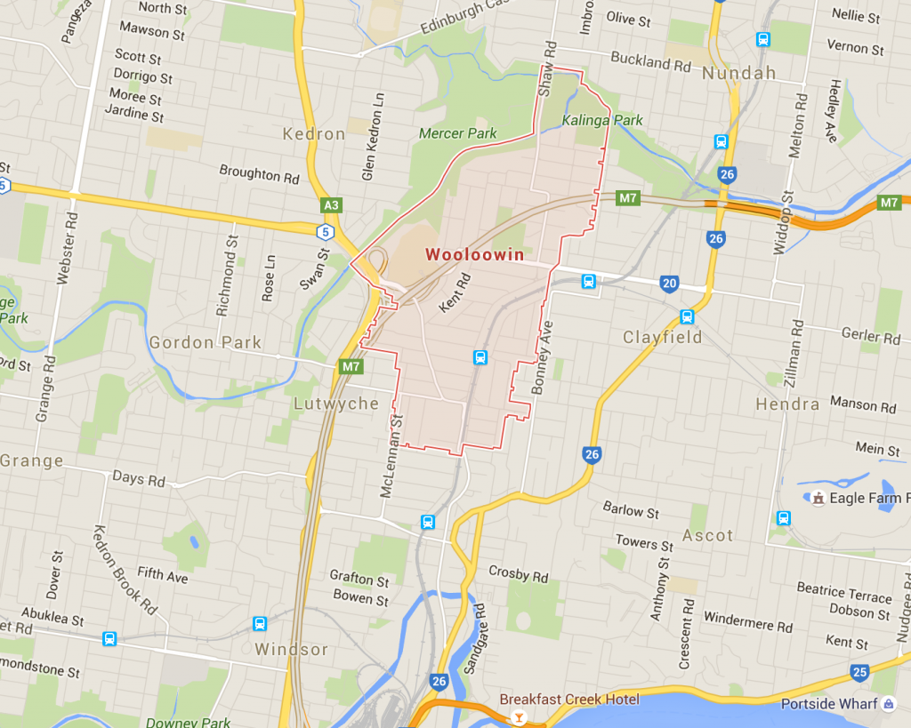 Wooloowin lawn mowing on a Google Map