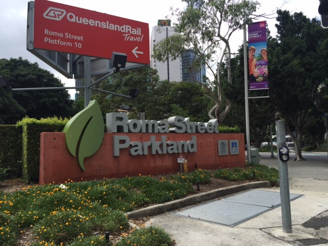The main road and pedestrian entrance to Roma Street Parkland Brisbane © GreenSocks