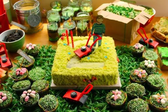 Kids birthday cake - lawn mower theme - saved on Pinterest by VeryDarkHorse