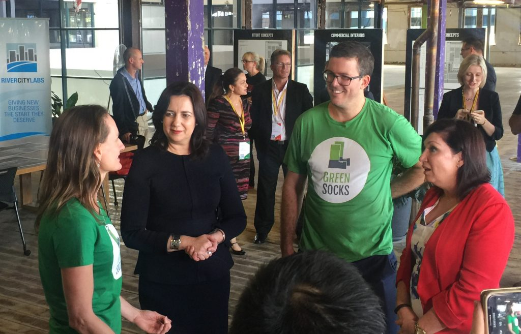 GreenSocks meets Premier Annastacia Palaszczuk and Minister Leeanne Enoch © GreenSocks
