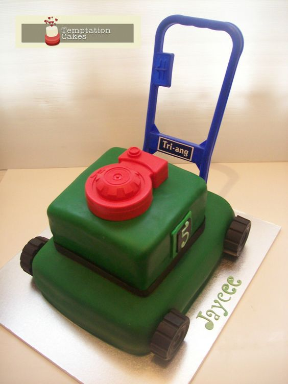 Lawn mower cake saved by Temptation Cakes on Pinterest
