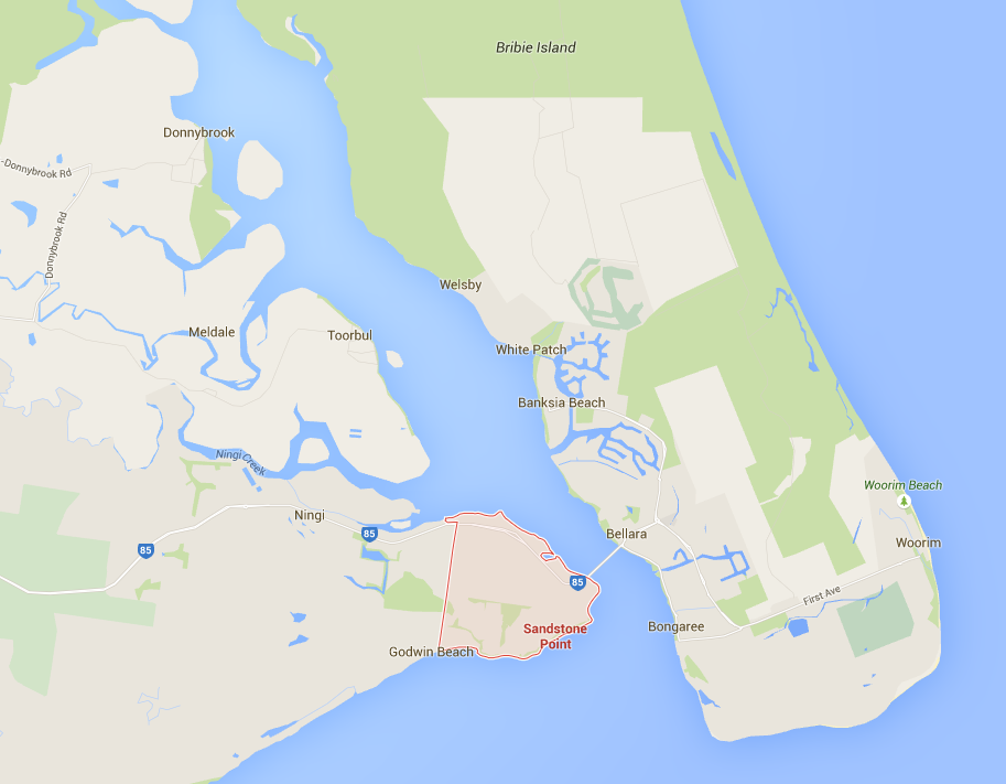Sandstone Point lawn care on a Google map © GreenSocks