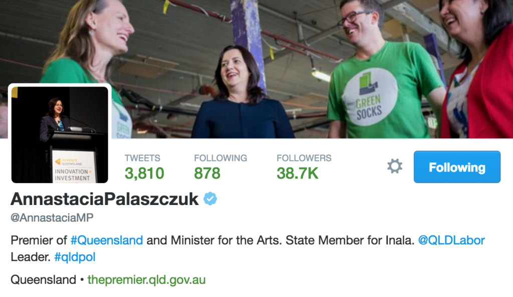 Annastacia Palaszczuk's Twitter cover photo with GreenSocks